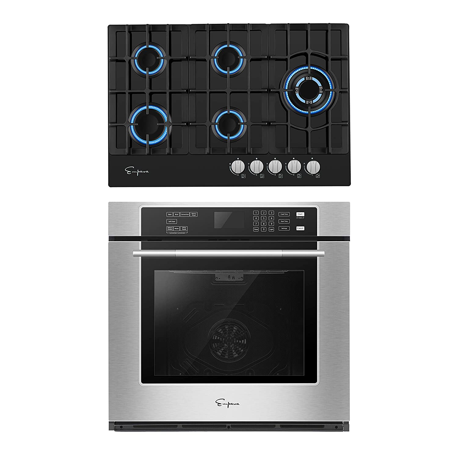 Empava 30 Inch Electric Single Wall Oven with Self-cleaning Convection Fan and Gas Cooktop Stove LPG/NG Convertible with 5 Italy SABAF Burners in Tempered Glass