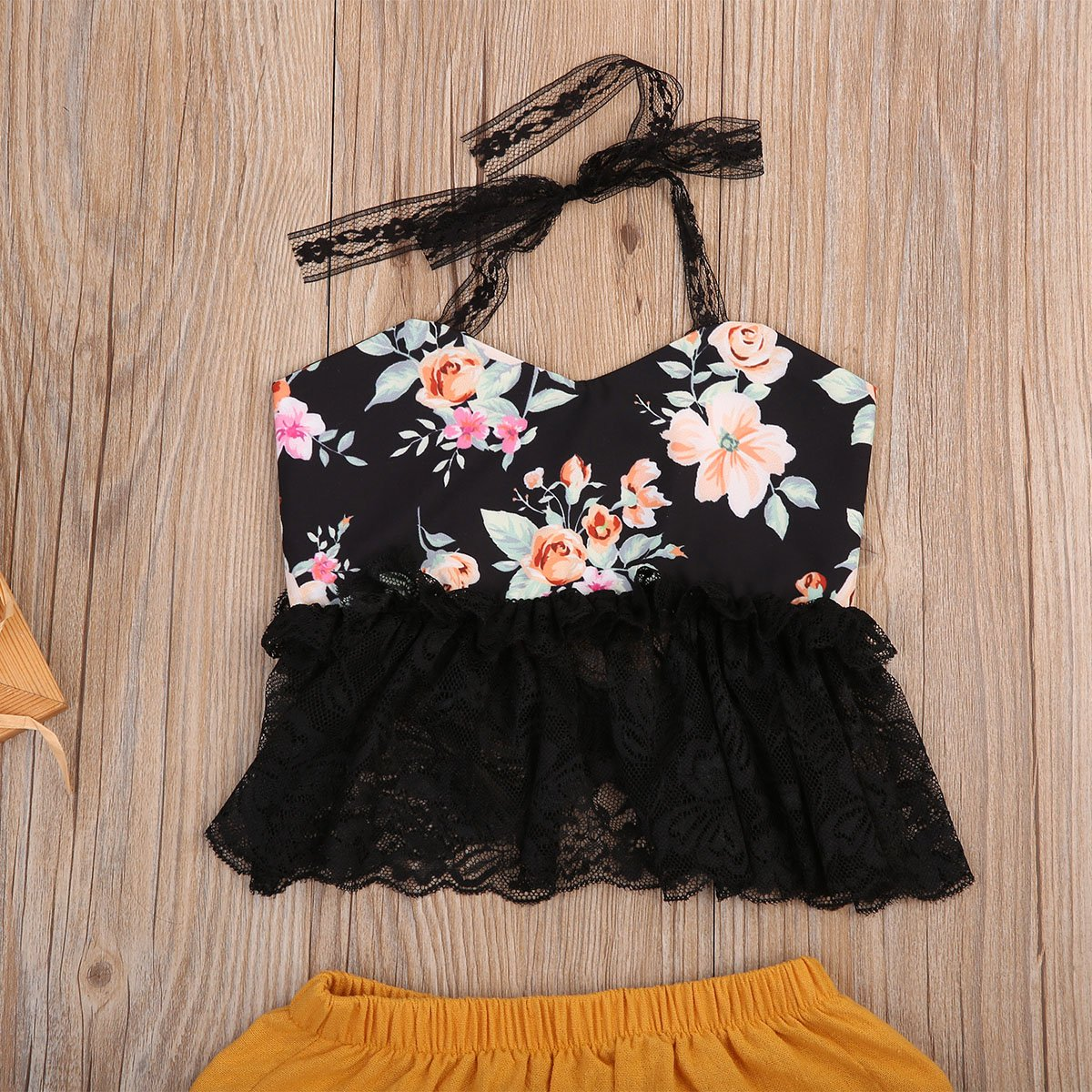 Toddler Infant Baby Girl Clothes Summer Backless Lace T-Shirt Floral Top Shorts Outfits