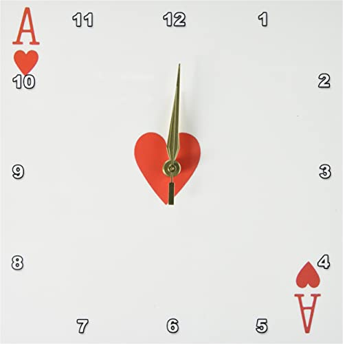 3dRose DPP_76551_1 Ace of Hearts Playing Card-Red Heart Suit-Gifts for Cards Game Players of Poker Bridge Games-Wall Clock, 10 by 10-Inch