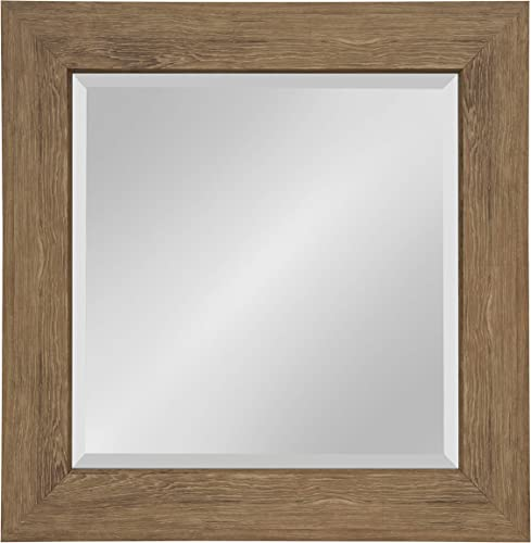 Kate and Laurel Boardwalk Square Framed Beveled Wall Mirror 26.5×26.5 inches, Medium Brown