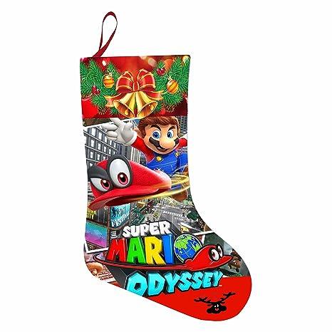 Cool calcetines de regalo de Navidad calcetín de Papá Noel, calcetín de Navidad mario-