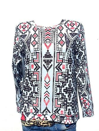 Damen Pullover Bluse Italy Moda oversize Shirt langarm Sommer Boho Blogger  #13