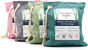 XTRAVAGANDA ORGANIC Charcoal Bags Odor Absorber – Activated Charcoal - Odor Eliminator – Shoe Deodorizer - air fresheners – 4 Pack of Bamboo Charcoal air Purifying Bag- air fresheners for Home
