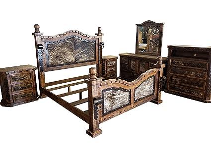 Amazon.com: Hi End Medieval Style Cowhide Rustic Bedroom Set ...