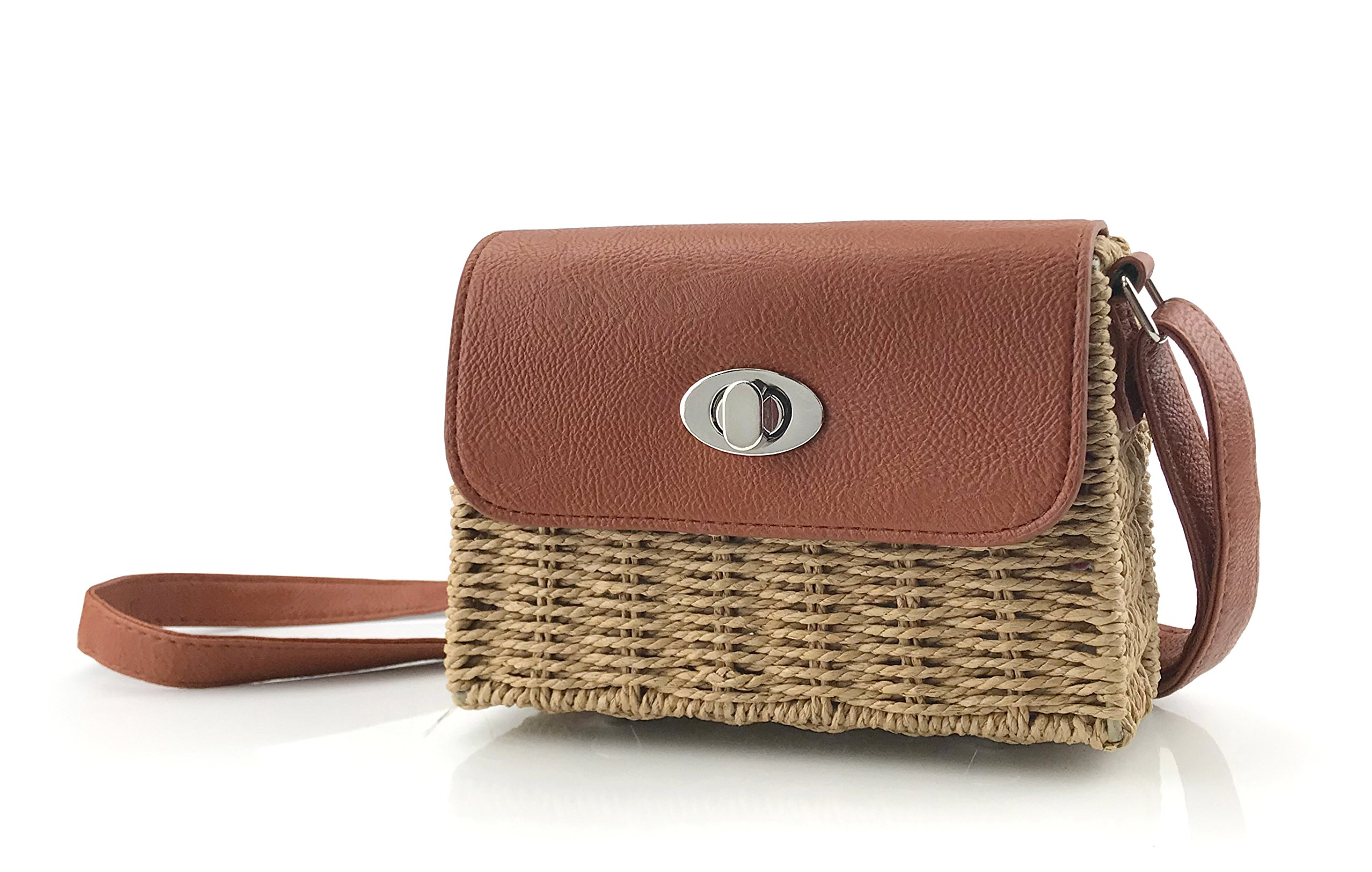Vintge Straw Basket Case Cross Body Bag Womens Small Vacation Purse (Brown)