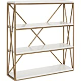 Kate and Laurel Ascencio 4-Layer Modern Luxe Wooden Wall Shelves with Matte Gold Metal Frame and High-Shine White Display Boards, 24.25-inches high x 22-inches Wide x 6-inches deep