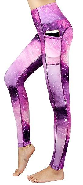 a0eac7dda1 New Minc Women Galaxy Leggings Printed -Tummy Control- High Waist Yoga  Pants with Pockets