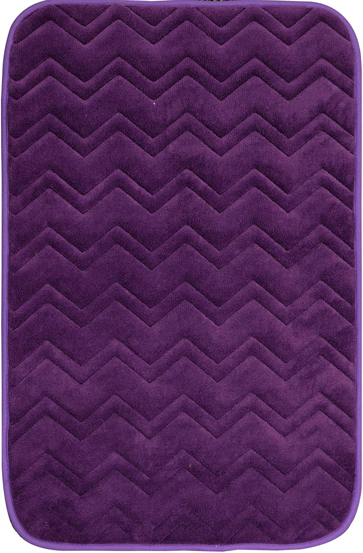 "Home Dynamix Indulgence Zigzag Bath Mat, 20"" x30, Purple"
