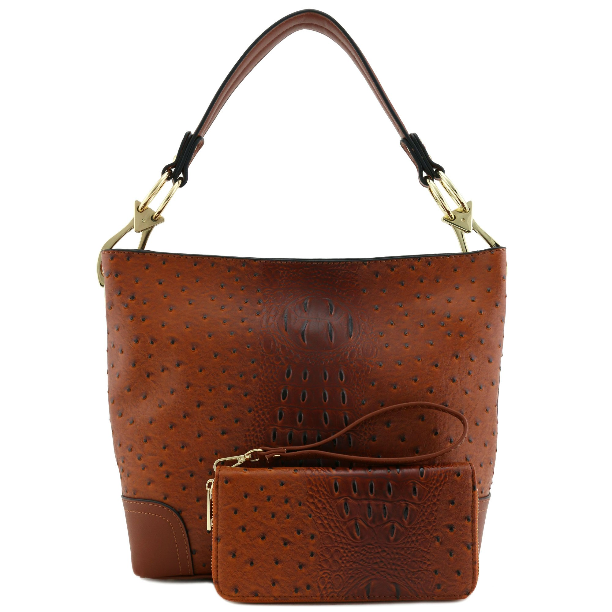 2 PC Set Ostrich Hobo Shoulder Bag with Big Snap Hook and Wallet Brown by Alyssa