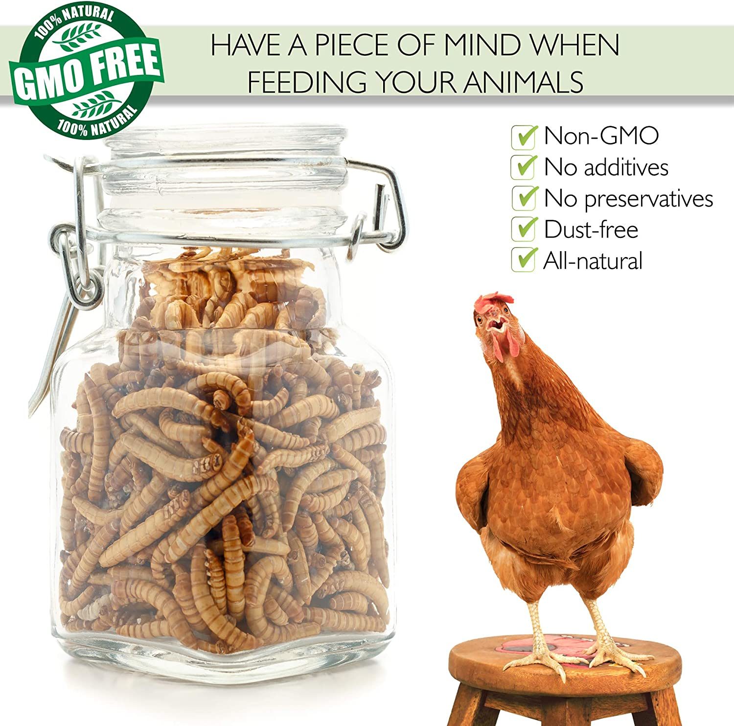 PICKY NEB 100% Non-GMO Dried Mealworms - High-Protein Mealworm Treats - Perfect for Your Chickens, Ducks, Wild Birds, Turtles, Hamsters, Fish, and Hedgehogs