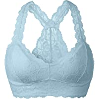 YIANNA Women Floral Lace Bralette Padded Breathable Sexy Racerback Lace Bra Bustie