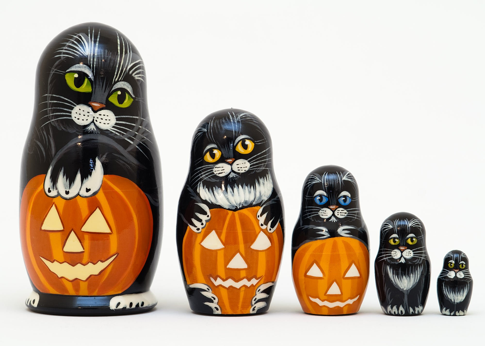 Golden Cockerel Halloween Cats Russian Nesting Doll 5pc./5'' by Golden Cockerel