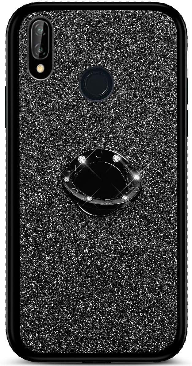 Bling Strass Diamant Weiche TPU Silikon Handyh/ülle Anti-Rutsch Kratzfest Schutzh/ülle mit 360 Grad Ring St/änder f/ür Samsung Galaxy M20 Misstars Glitzer H/ülle f/ür Galaxy M20 Silber