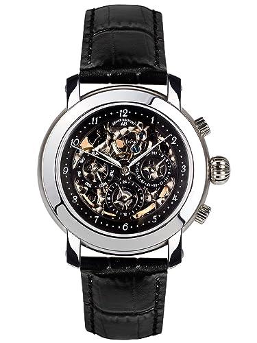 André Belfort 410150 - Reloj analógico de caballero automático con correa de piel negra - sumergible a 50 metros: Amazon.es: Relojes