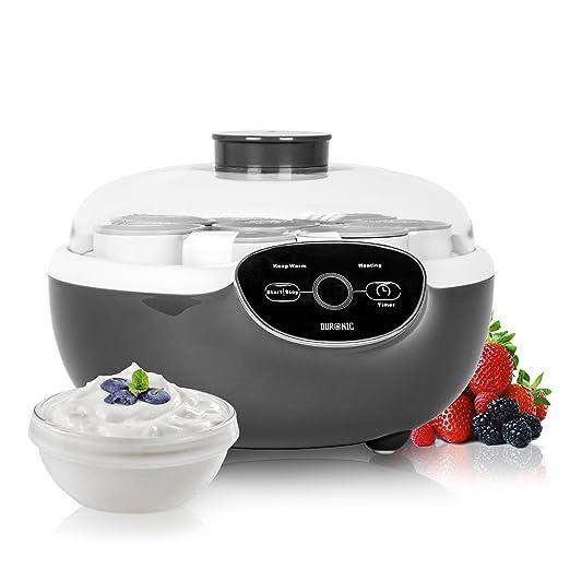 Duronic YM2 Yogurtera con Temporizador 20W con 8 Tarros de 125 ml ...