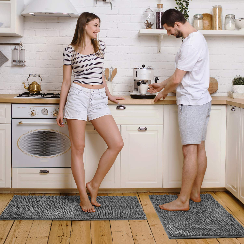 Pretigo Kitchen Rug Sets - Rugs for Kitchen Floor Washable,Non-Slip Soft Kitchen Mat Set,Chenille Microfiber Material, Super Absorbent (Grey)
