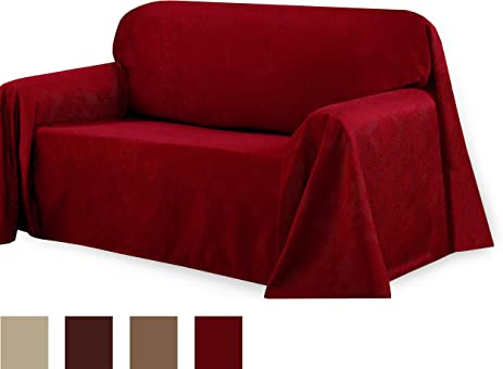 CHI Medallion Solid Jacquard Sofa Slip Cover, 70 By 144 Inch, Burgundy