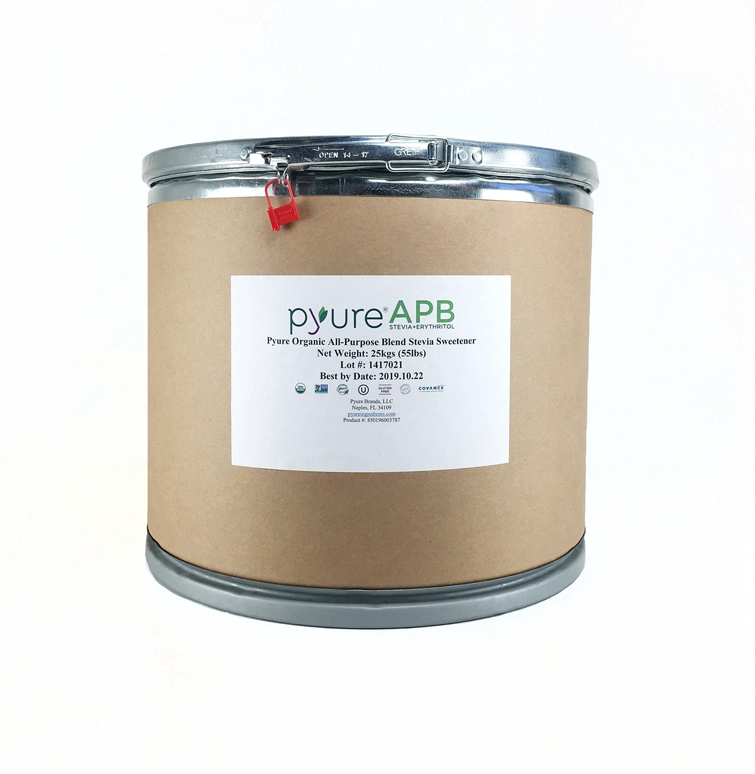 Pyure Organic All-Purpose Blend Stevia Sweetener, Bulk Sugar Substitute, Perfect for Bakery & Restaurant Sugar-Free Sweetening, 55 Pound