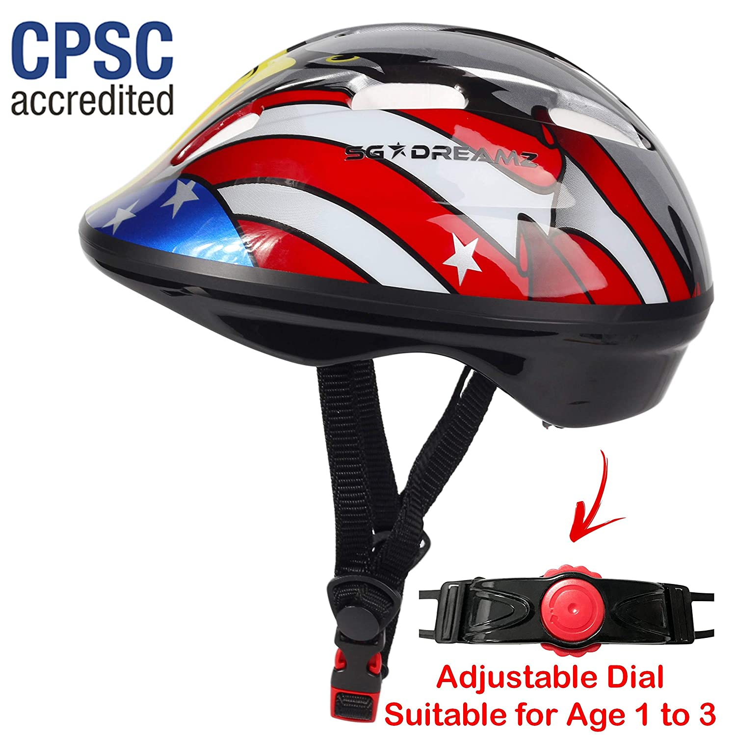 SG Dreamz Toddler Helmet – Adjustable from Infant to Toddler Size, Ages 1 to 3 – CSPC Certified Kids Bike Bicycle Cycling BMX Scooter Roller Skating Helmets Boys and Girls Will Love