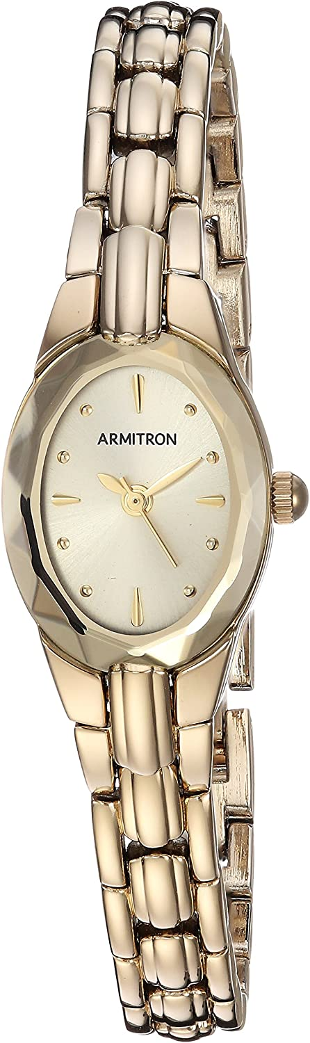 Armitron Women s Oval Faceted Wall-to-Wall Crystal Goldtone Bracelet Watch