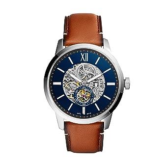 e36d307b270b Fossil Reloj Esqueleto para Hombre de Automático con Correa en Cuero  ME3154  Amazon.es  Relojes