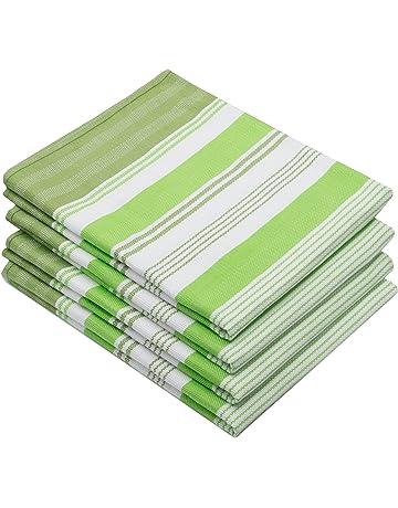 ZOLLNER 4 paños de Cocina de algodón, Rayas Grises, Rojas o Verdes 50x70 cm