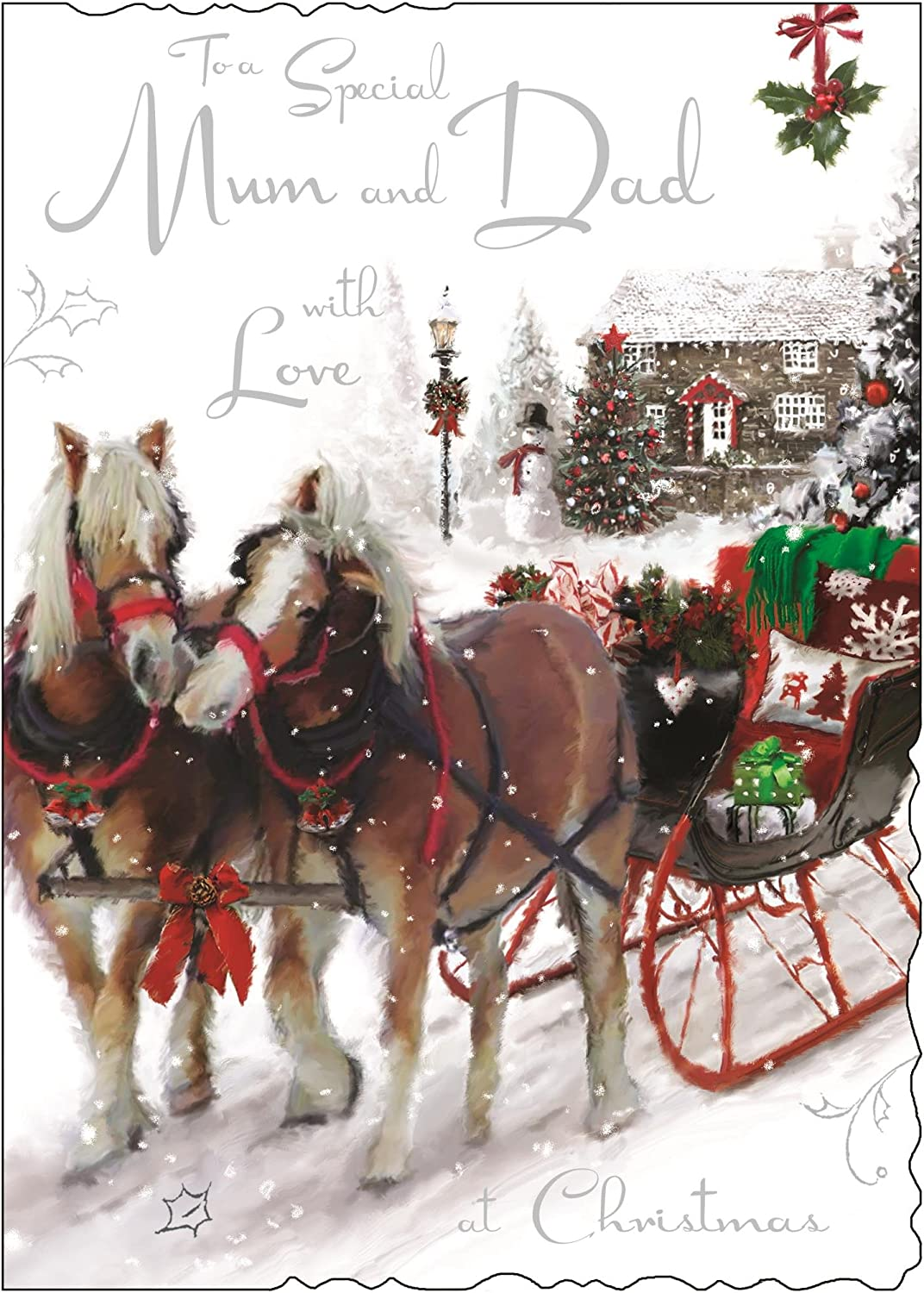 Christmas Luxury Card  Made In UK To a Special Mum and Dad