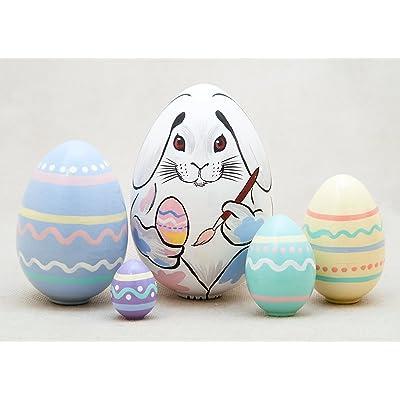 "Golden Cockerel Easter Bunny Nesting Egg 5pc./4"": Toys & Games"