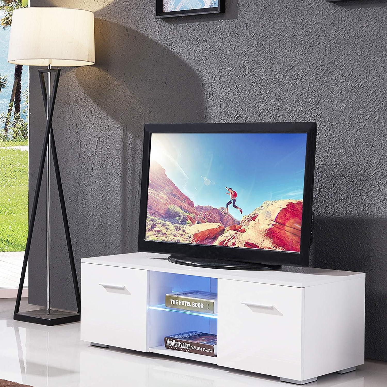 Amazon Com Mecor High Gloss Tv Stand 63 Tv Unit With Led Lights
