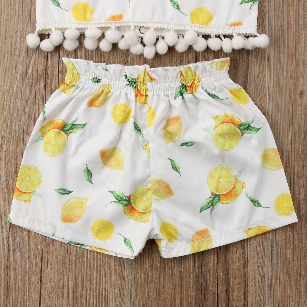 Headband Summer Outfit Cute Shorts Pants YAZAD Newborn Infant Toddler Baby Girl Lemon Top Sleeveless Crop Top Vest