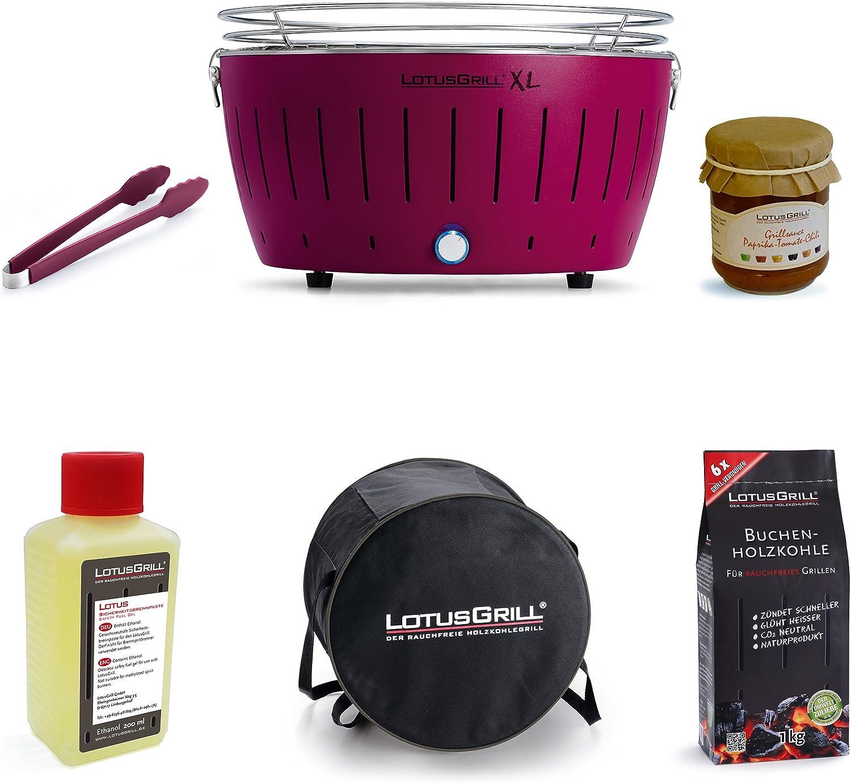 Set de parrillada LotusGrill XL, 1x parrilla LotusGrill XL color ciruela morada, 1x carbón de madera de haya 2,5 kg, 1x pasta para quemar 200 ml, 1x LotusGrill pinzas para asar color