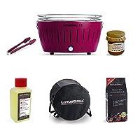Special Grill Lotusgrill klein lila Edelstahl Stahl Kunststoff Exclusive Balkon Camping Picknick ✔ rund ✔ tragbar rauchfrei ✔ Grillen mit Holzkohle ✔ für den Tisch