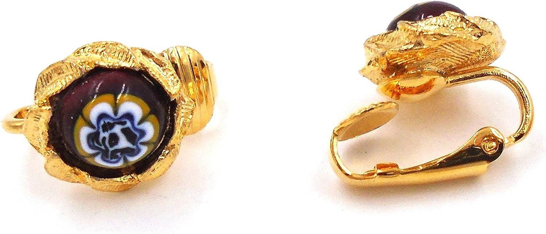 Handmade Spanish Glass Clip Earrings #B