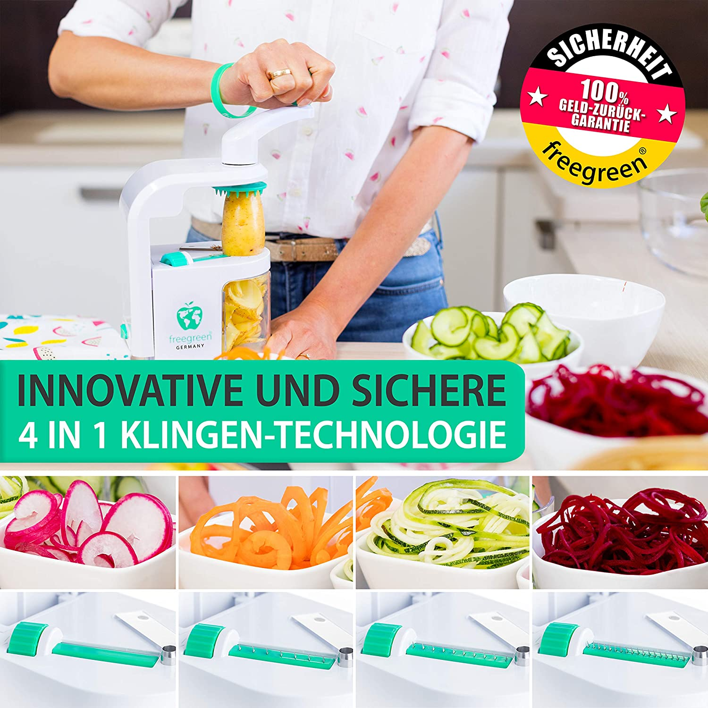 Gemüsenudeln herstellen mit Freegreen Premium Spiralschneider