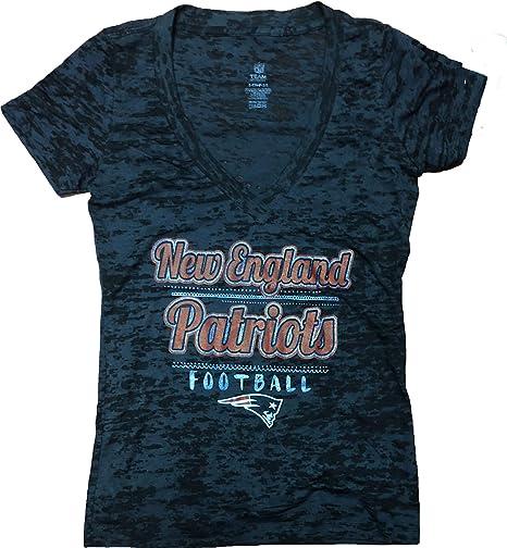 NFL Team Apparel New England Patriots Womens V Neck Heather T-Shirt Black  (Medium 4ea8c06bc