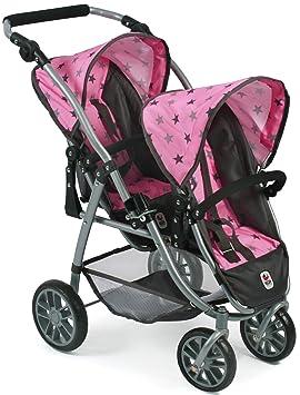 Amazon.es: Bayer Chic 2000 689 83 Tandem de Buggy Vario, de Gemelos muñeca Carro, Gris de Estrellas, Color Rosa: Juguetes y juegos