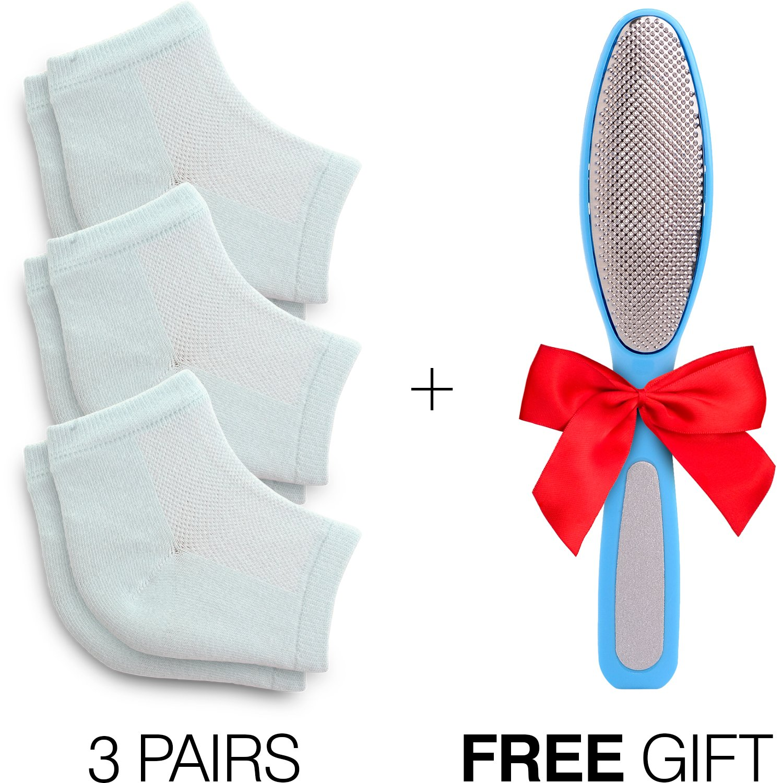 Cracked Heels Moisturizing Gel Socks + Bonus Gift – Softening Essential Oil Infused Sleeves for Women & Men| Soothing Spa Vented Rough Skin Treatment for Dry Feet | Moisturizer Repair - by CareMe+ by CareMe+ (Image #2)