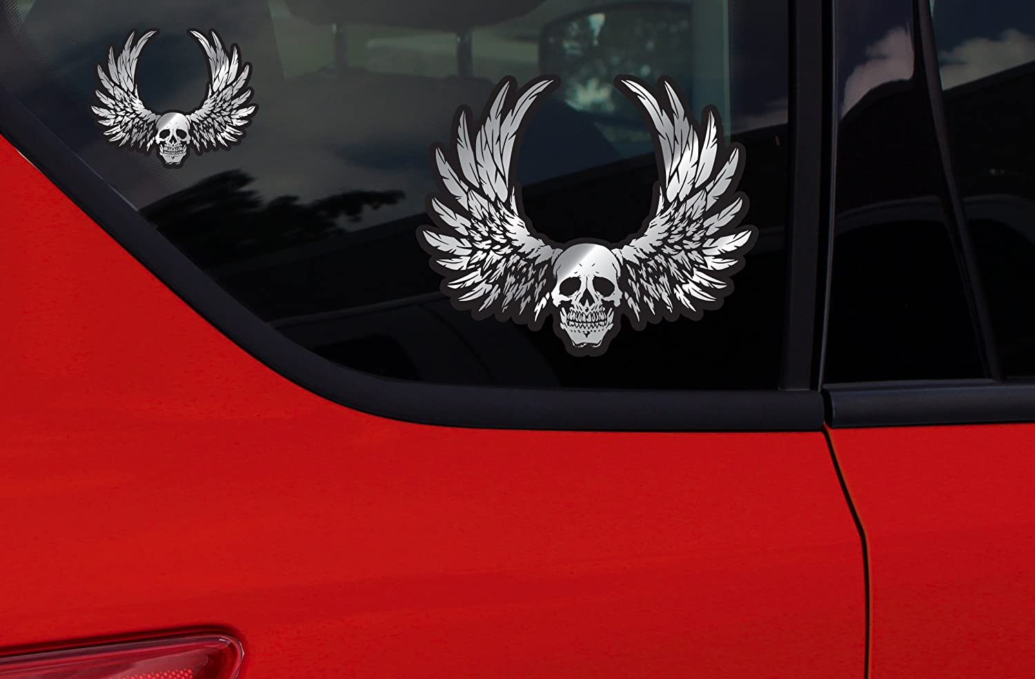 3 Piece Chroma Graphics 26009 Skull with Wings Classic Emblem Decal