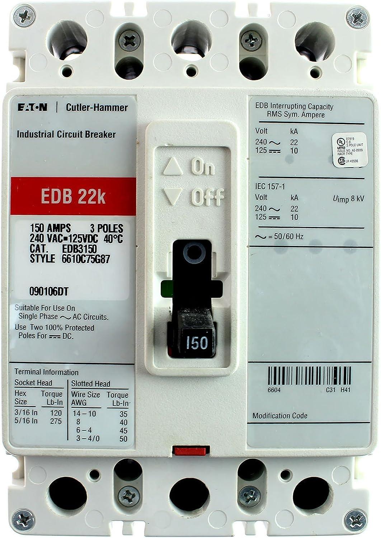 Details about  /Eaton Circuit Breaker EDB 22k 150 Amp 240 Volt EDB3150BP10 3 Pole BP10