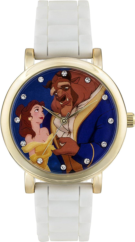 Disney PN1267 - Reloj de Cuarzo Infantil con Esfera analógica Multicolor, diseño de Princesas Disney, Correa de Goma Color Blanco