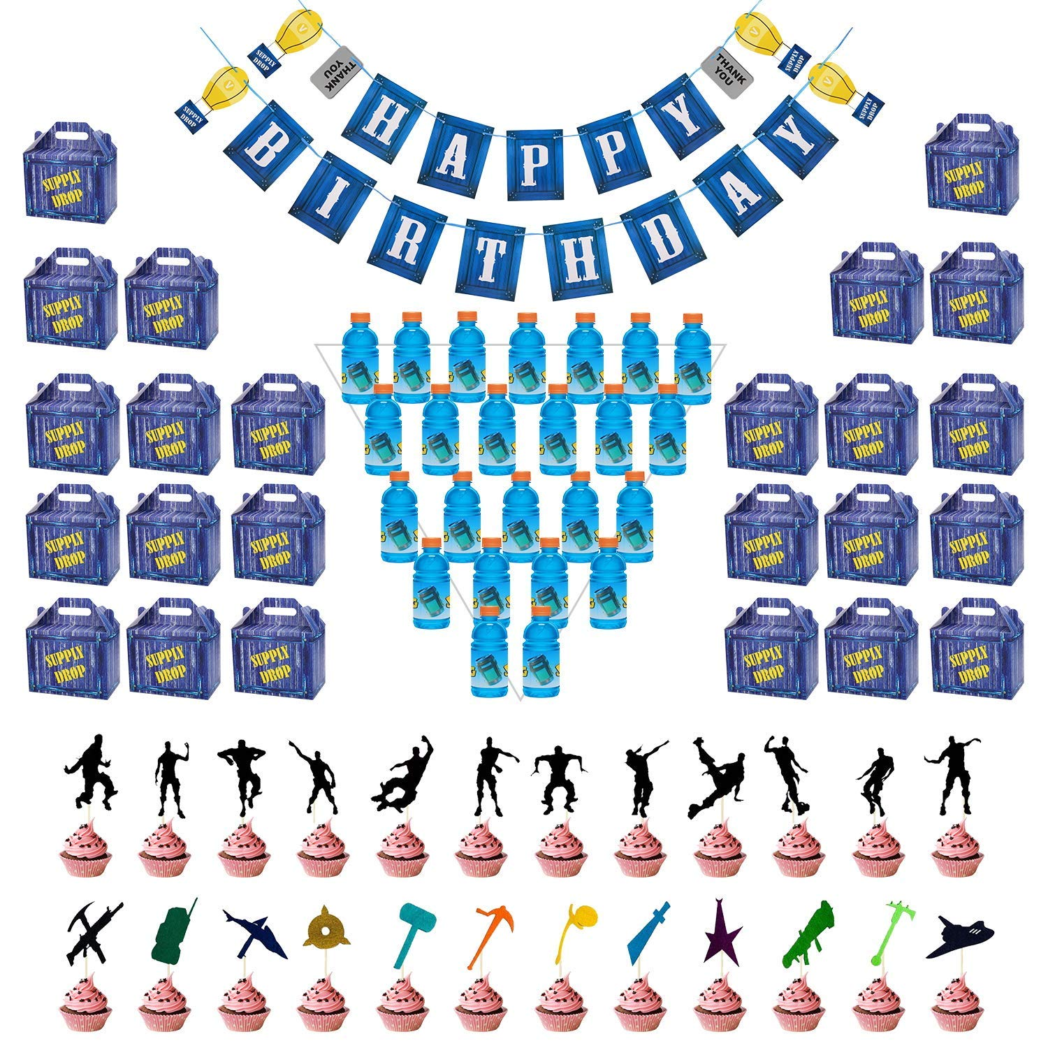 Birthday Party Supplies Set for Game Themed-Including 24 Chug Jug Bottle Labels,24 Game Party Drop Box,24 Cupcake Toppers(24 Styles),1 Birthday Party Banner by Esjay (Image #3)