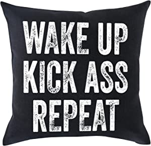 Bnitoam Life Mood Phrases Wake up Kick Ass Repeat Cotton Linen Throw Pillow Covers Case Cushion Cover Sofa Decorative Square 18 x 18 inch (2)