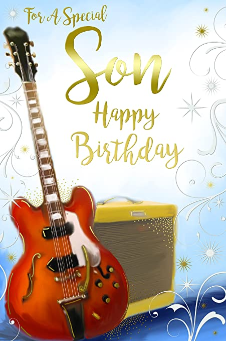Special Son Electric Guitar Amp Stars Scroll Design Happy Birthday