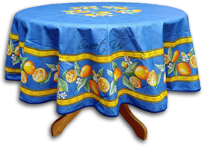 French Provencal Tablecloth Acrylic Coated Cotton 71 Round Blue Lemon Home Kitchen Amazon Com