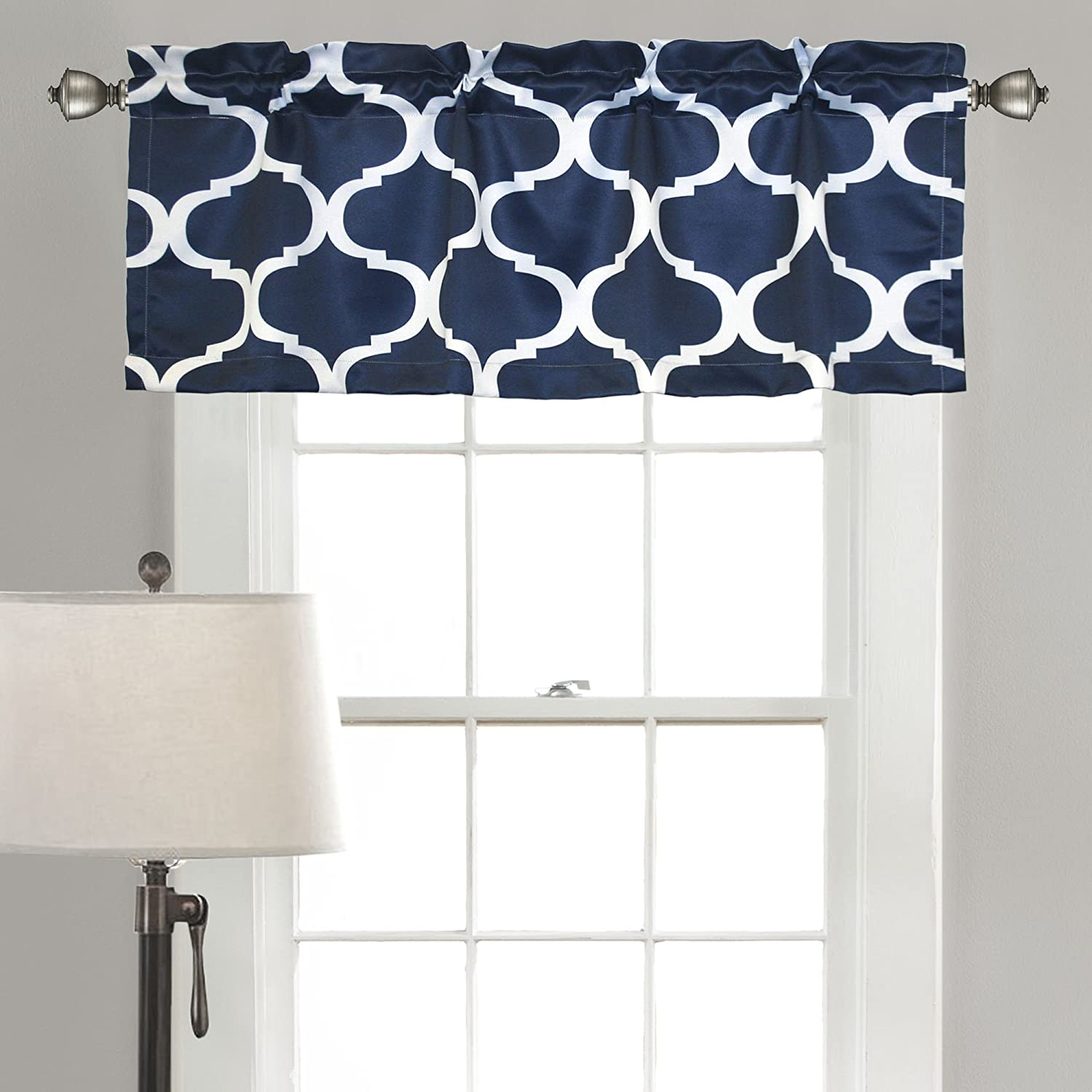 Amazoncom Lush Decor Geo Valance 18 X 52 Navy Home Kitchen