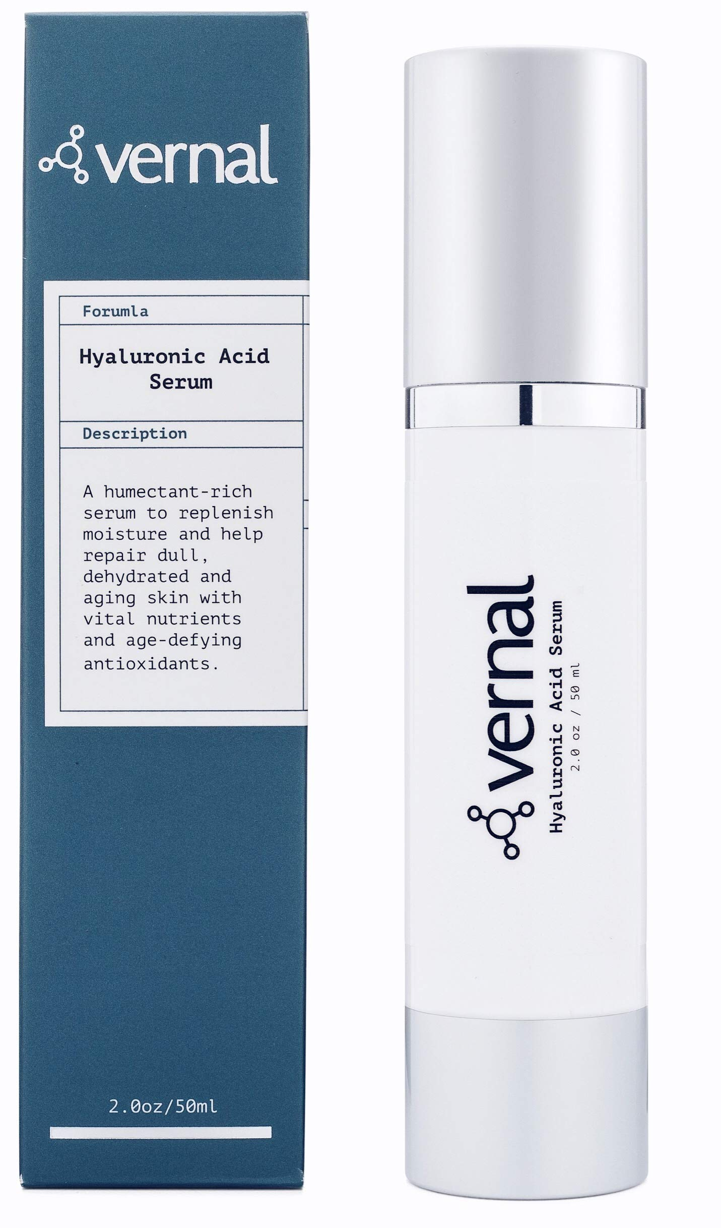 Vernal's 100% Pure Hyaluronic Acid Serum - Rich With Vitamins C, A, D, E and Age-Defying Antioxidants - Best Anti Wrinkle, Anti Aging Face Serum that Lifts and Firms Skin, Made in USA
