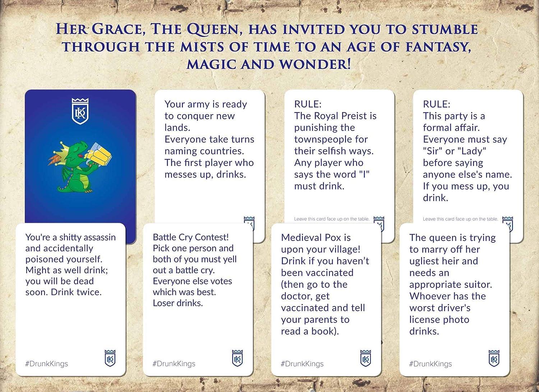 Drunk Kings – Juegos de beber para adultos – Tarjetas temáticas de fantasía – Divertidos juegos de mesa de fiesta para 21 cumpleaños, soltero/despedida de soltero, regalo para hombre Cave/Bar: Amazon.es: Deportes