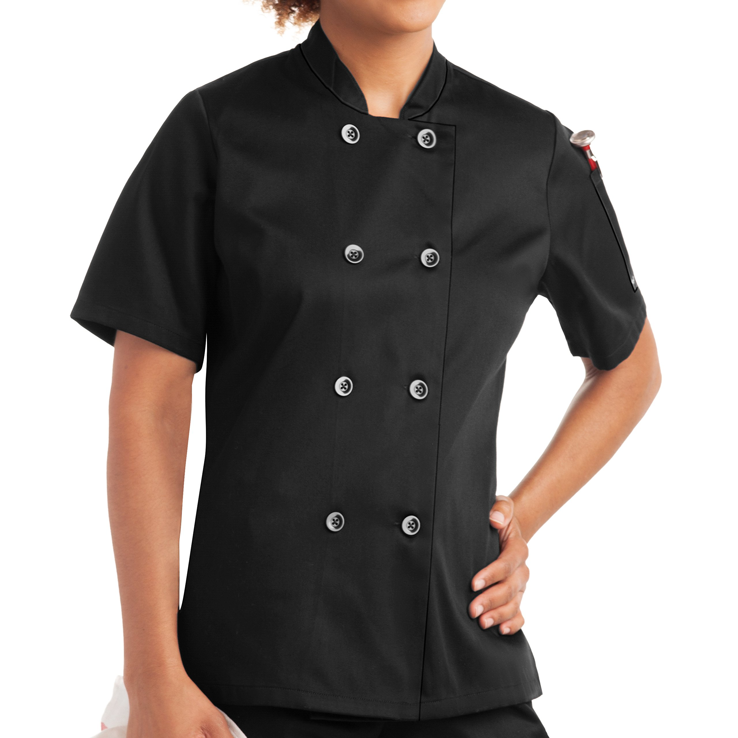 On The Line Women's Short Sleeve Chef Coat/Double Breasted/Plastic Button Reversible Front Closure (S-2X, 2 Colors) (Medium, Black)