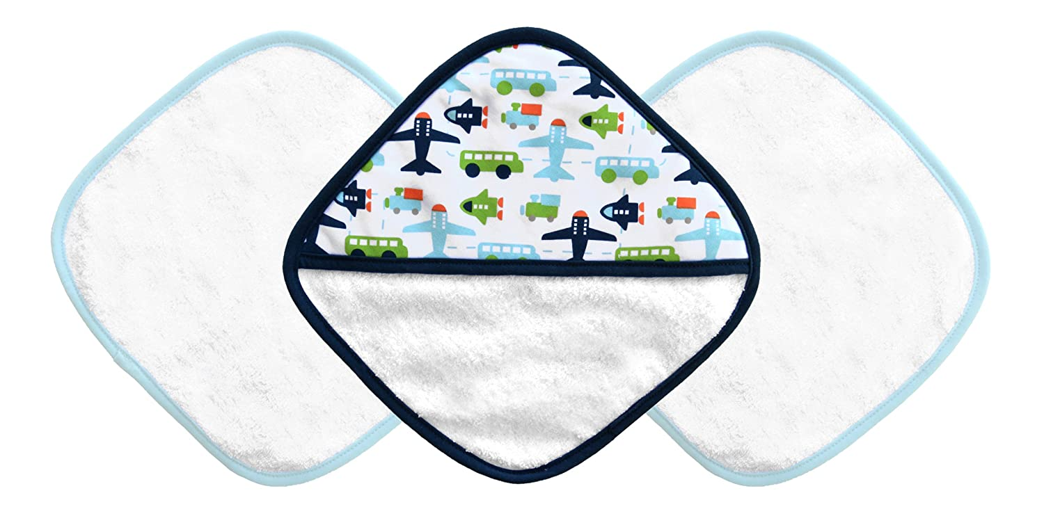 JJ Cole Washcloth and Bath Mitt Set, White Vroom, 3 Count J00393