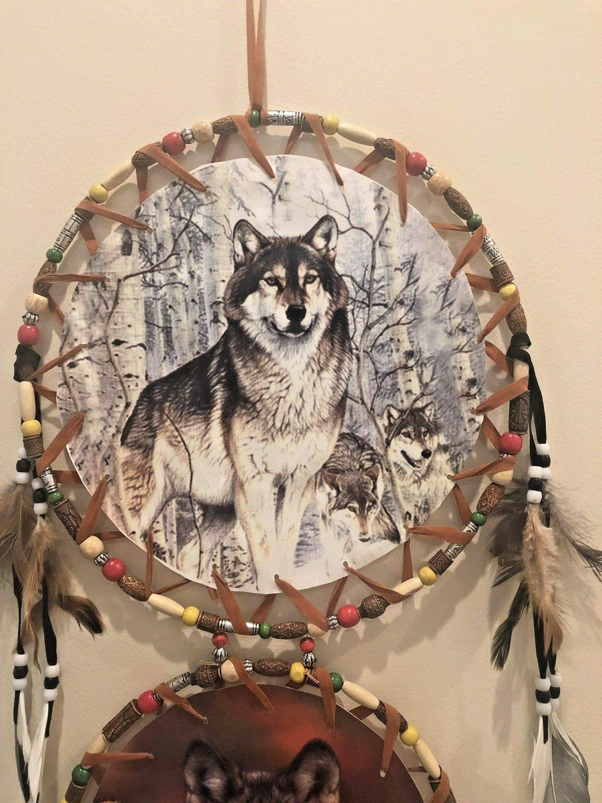 Viet Hand Dream Catcher 3 Canvas Pictures Wolves, Wolf Pack
